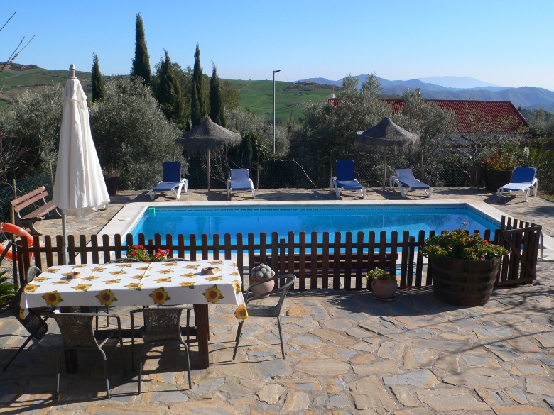 terrace and private pool holiday rental casa amarilla el torcal de antequera malaga