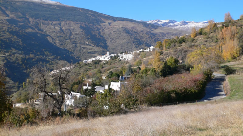 bubion, alpujarra view onto road to capileira and sierra nevada mountains