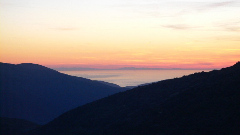 bubion view onto africa and the mediterranean see at sunset