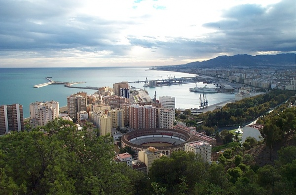 Malaga city view onto port and bullring