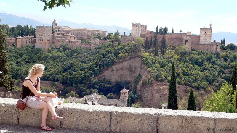 granada view onto alhambra andalusia spain