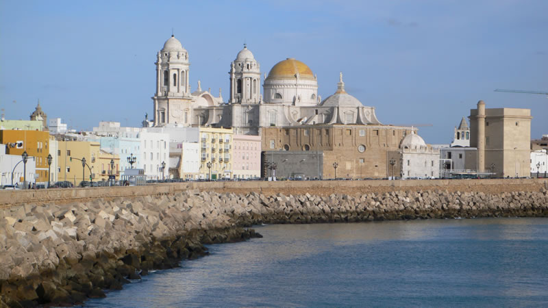 cadiz cathedral and sea andalusia spain