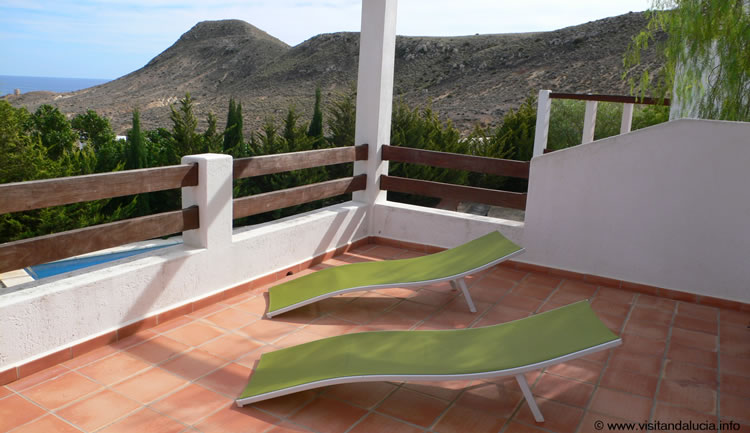 almeria las negras holiday rental casa la palmera terrace and sunloungers