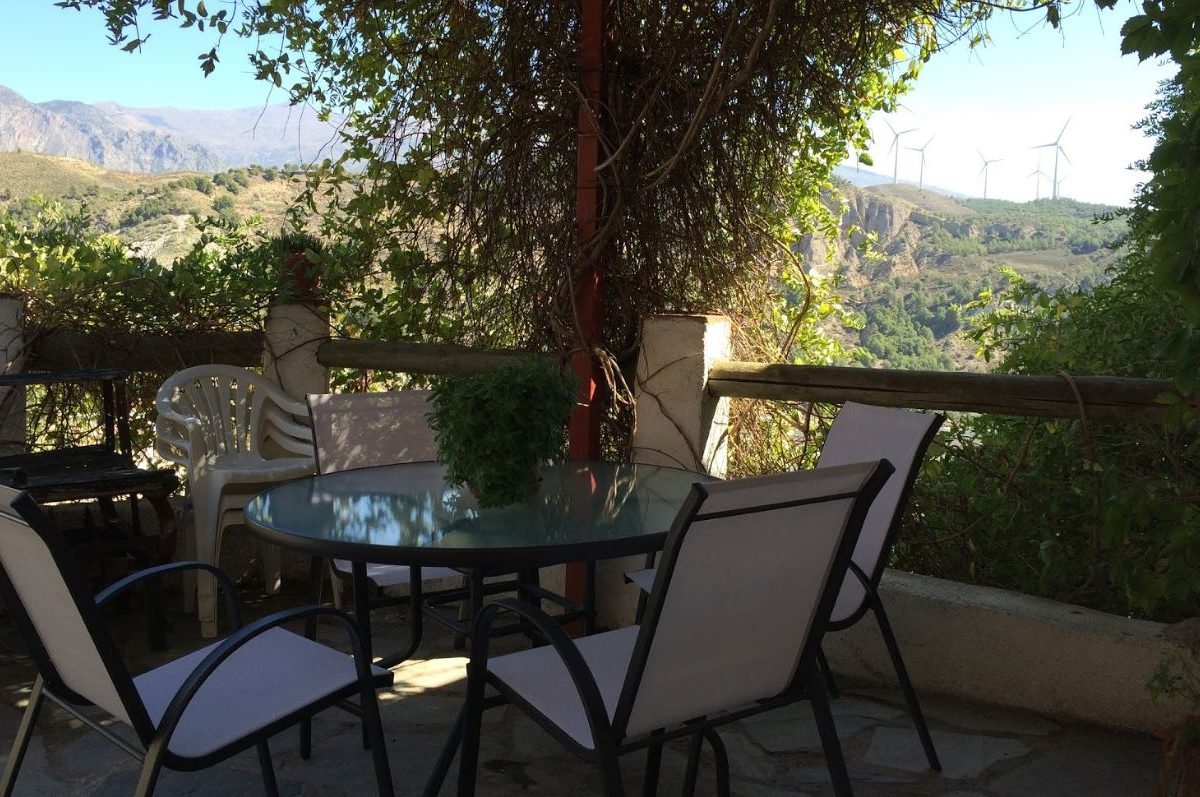 Lecrin valley, Conchar, holiday rental Casa el Concejo outside terrace and gardenfurniture