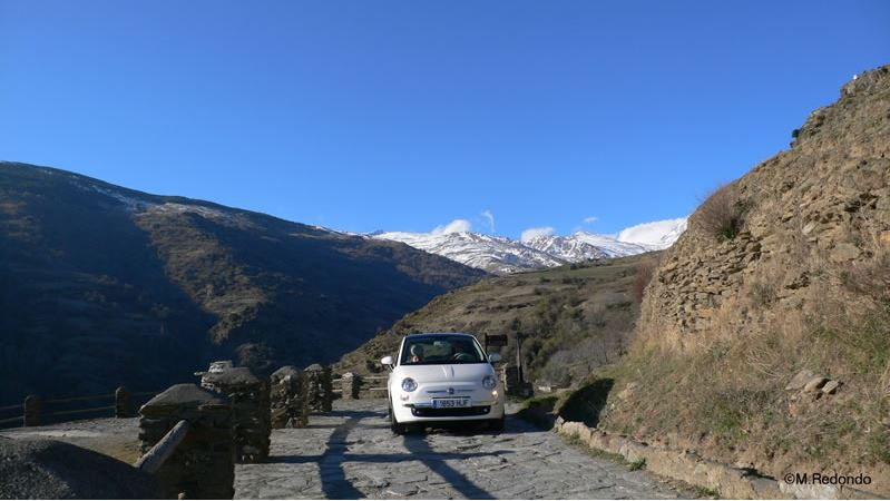 sierra nevada from capileira with fiat 600 alpujarras