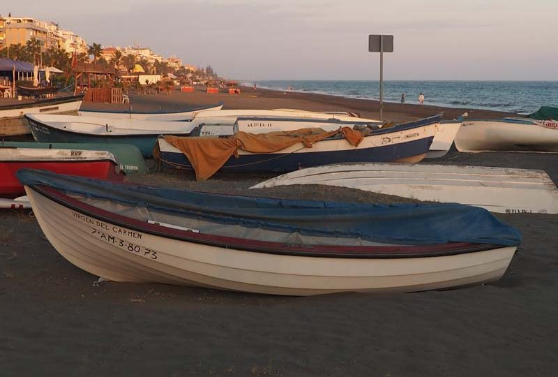 malaga boats on beach rincon de la victoria andalusia spain